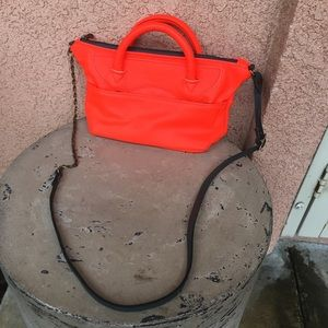 Jas MB London Red Orange Leather Crossbody Purse